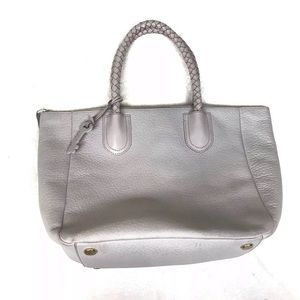 Fossil gray pebbled leather braided handle purse